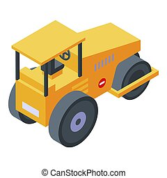 Yellow steamroller icon. Isometric of yellow steamroller icon for web design isolated on white background