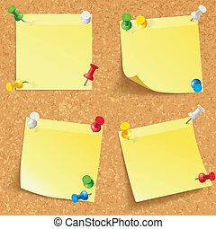 Yellow stick note. Blank notes pinned on corkboard ready for...