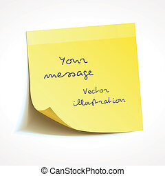 Yellow stick note, vector - Yellow stick note isolated on...
