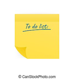 Yellow stick notes isolated on white background. To do list. Vector illustration.