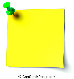yellow sticker attached drawing pin