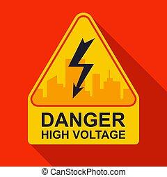 yellow sticker caution high voltage.