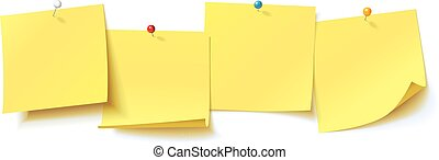 Collection yellow sticker pinned pushbutton with curled corner, ready for your message. Vector illustration. Isolated on white background. Front view. Top view. Close up. Set
