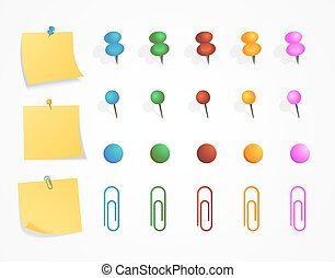 Yellow sticker set pinned push button with curled corner and push pin, clip and magnet set isolated on white background ready for your message. Vector illustration