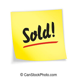 "Yellow sticky note ""sold\"", 3d illustration"