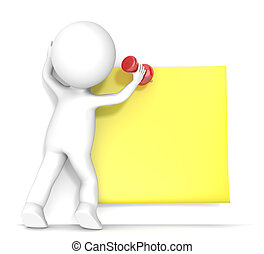 Yellow Sticky Note. - 3D little human character attaching a...