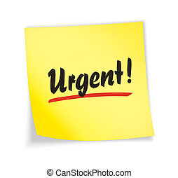 "Yellow sticky note ""urgent\"", 3d illustration"