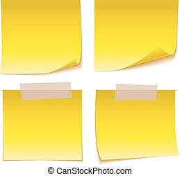 Yellow Sticky Note with Adhesive Tape isolated on white background.