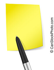 Yellow sticky note with pen
