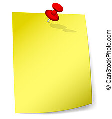 Yellow sticky note with pin