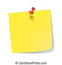Yellow Sticky Note With Red Pin