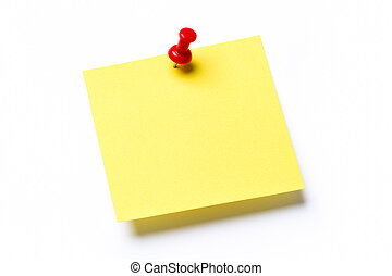 Yellow sticky note with red push pin and shadow isolated on a white background