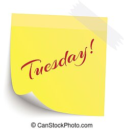 Yellow Sticky note with Sunday red word isolate on white background, vector illustration