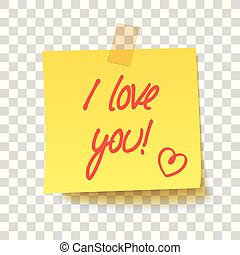Yellow sticky note with text - I love you!