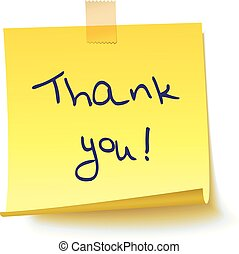 "Yellow sticky note with text ""Thank you!"""