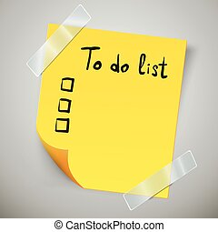 Yellow sticky note with the curled corner and adhesive tape. To do list or memo post.
