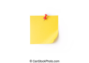 yellow Sticky Note - Yellow sticky note with pushpin