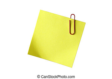 Yellow sticky notepaper with red paper-clip isolated on ...