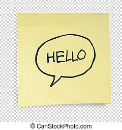 Yellow sticky notes with Hello Message