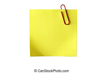 Yellow sticky paper with red clip. Isolated on white background with clipping path.