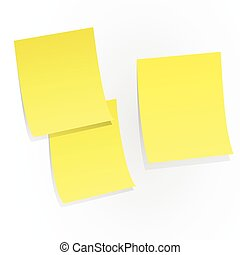 Yellow sticky papers on white