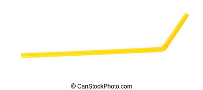 Yellow straw isolated on white background.