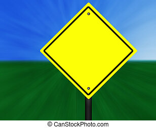 Yellow Street Sign - A blank yellow and black graphic street...
