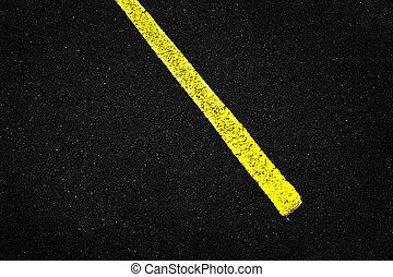 Yellow Stripe on Asphalt Road