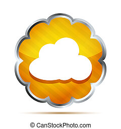 yellow striped icon with cloud on a white background