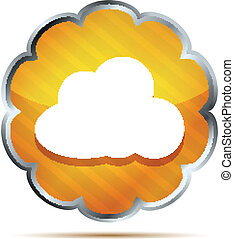 yellow striped icon with cloud