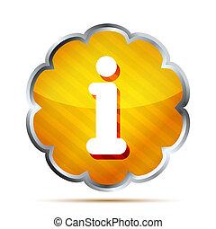 yellow striped info icon button on a white background