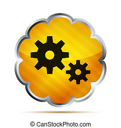 yellow striped metallic icon with black gears on a white background