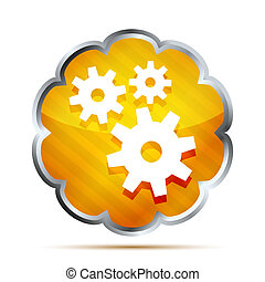 yellow striped metallic icon with gear on a white background