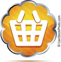 yellow striped shopping basket icon