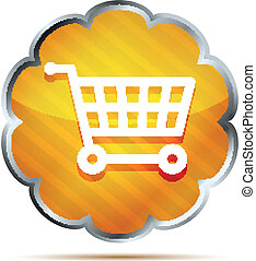 Yellow striped shopping cart icon