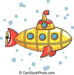 Yellow submarine icon, cartoon style