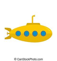 Yellow submarine icon, flat style