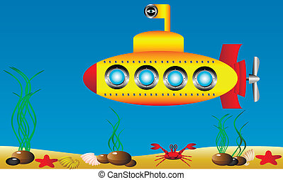 Yellow submarine under water - vector illustration