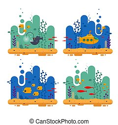 Yellow submarine with periscope underwater concept. Marine life with fish flock, angler fish, coral, seaweed, colorful blue ocean landscape. Bathyscaphe template for banner, poster or flyer cover - flat vector illustration.
