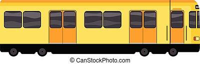 Yellow subway train icon, cartoon style