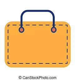 Yellow suitcase flat illustration