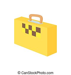 Yellow suitcase with a taxi sign icon