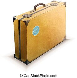 Yellow suitcase with sticker, realistic icon on white