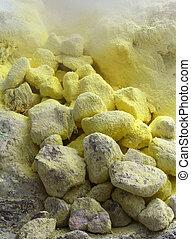 Yellow sulphur stones, volcano - Yellow sulphur covering ...