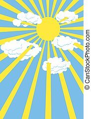 Yellow summer sun. Blue sky. Rays of  Sun through white clouds. Vector illustration