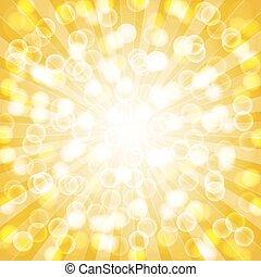 Yellow summer sun light burst. vector
