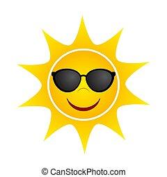 Yellow Summer Sun with Sunglasses, stock vector illustration