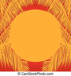 Yellow sun and palm trees mask on red background