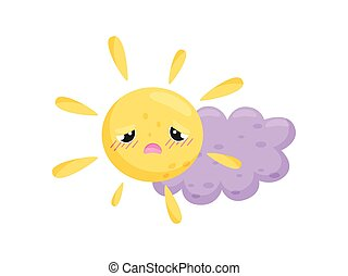 Yellow sun and purple cloud on white background.