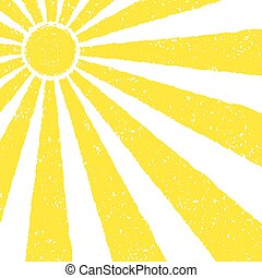 Yellow Sun background. Hand painted with oil pastel crayons....